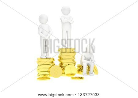3d humans on a podium made of gold dollar coins