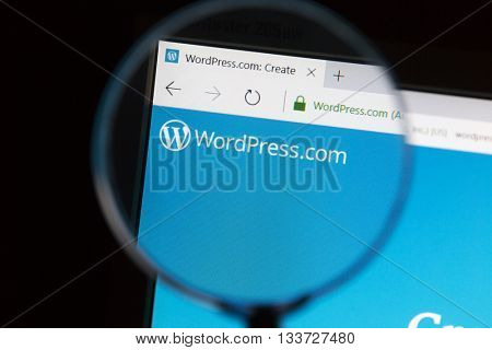 Ostersund, Sweden - June 10, 2016 Closeup of wordpress website under a magnifying glass. WordPress is a free and open-source content management system (CMS) based on PHP and MySQL
