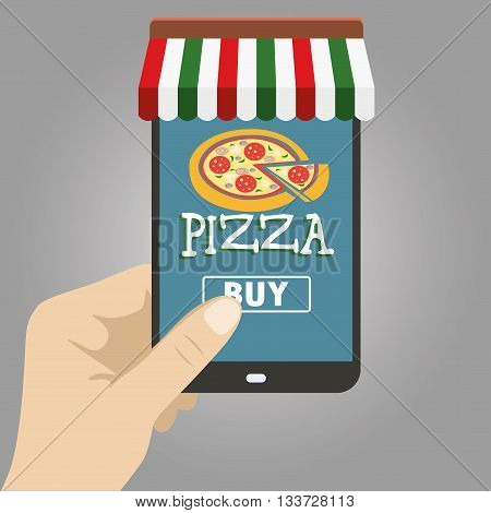 Vector flat illustration .Hand holding smart phone order pizza using a smartphone in pizzeria