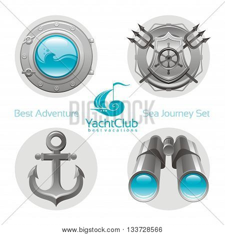 Sea travel icon set with sailing icons porthole, anchor, binoculars, yachting emblem