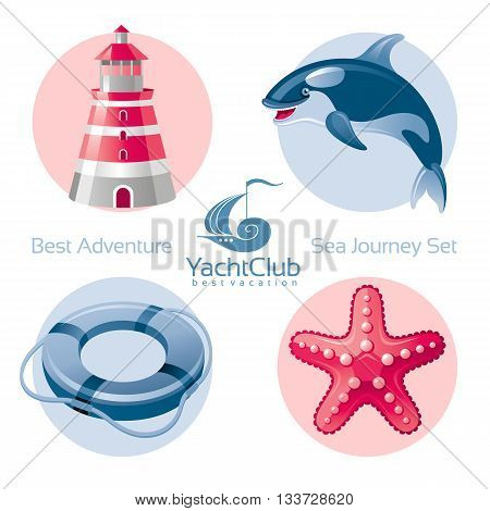 Sea travel icon set with seafaring icons lighthouse, killer whale, lifebuoy, starfish