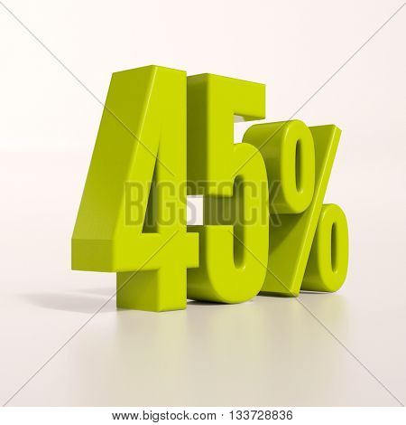 3d render: green 45 percent, percentage discount sign on white, 45%