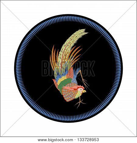 Fabulous large bird with Golden feathers. Japanese and Chinese style of painting.
