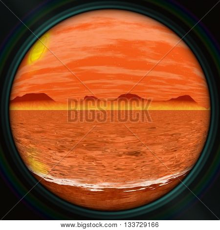 Alien planet with toxic ocean under the big sun and orange windy atmosphere. seen through the round window