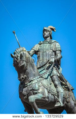 Lisbon Portugal. Equestrian statue of King John I in the Praca da Figueira Lisbon