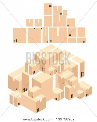 Cardboard boxes vector Cardboard boxes 3dA pile of boxes. Cardboard brown vector. Vector illustration