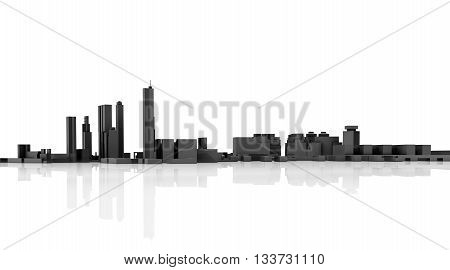 Abstract Modern Cityscape Skyline. 3D Model
