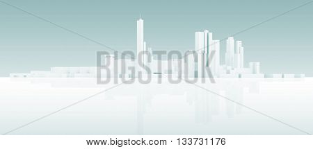 Abstract White 3 D Modern Cityscape Skyline