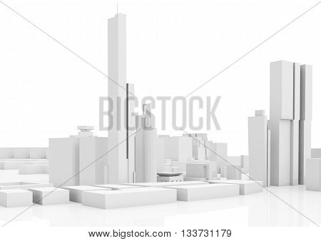 Abstract Contemporary Cityscape, Tall Houses