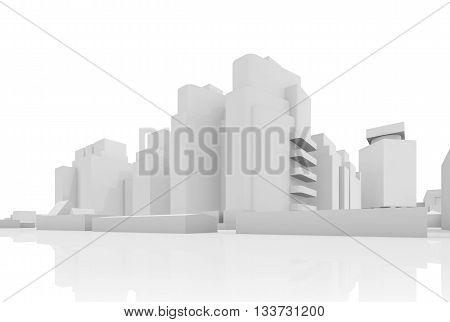 Abstract Contemporary Cityscape, 3 D Houses