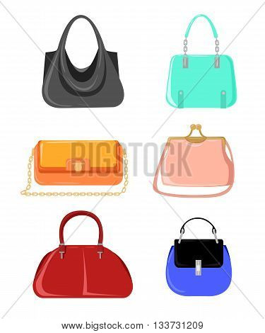 Vector fashion illustration. Women's Bags Hand Drawn Purses set of women's fashion accessories. vector illustration handbags