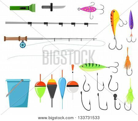 Fishing lure vector set. Fishing tools illustration. Hook bait. Vector set of various stylized icons for fishing