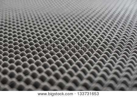 Close up of Sound Absorbing Sponge in Recording Studio. Dampening Acoustical Foam in Music Studio. Acoustic Foam Detail.