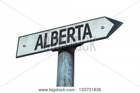 Alberta direction sign isolated on white background