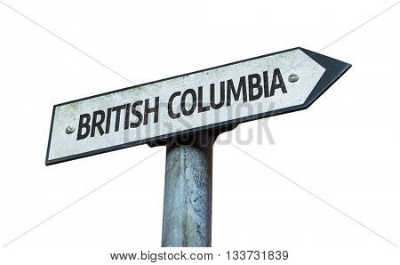 British Columbia direction sign isolated on white background