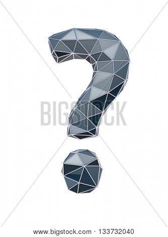 weird question mark, 3d illustration