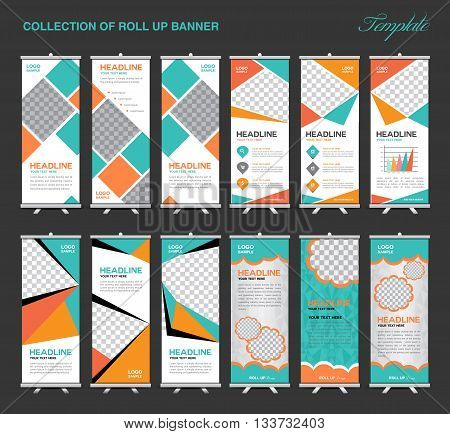 Collection of Orange and green Roll Up Banner Design polygon background flyers banners labels roll-up and card template
