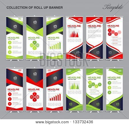 set of Roll Up Banner Design polygon background flyers banners labels roll-up and card template