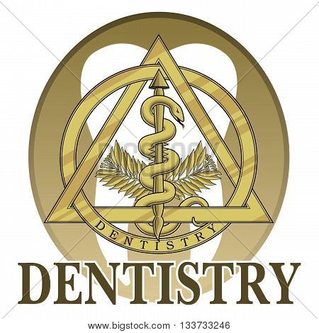Dentistry Symbol Design is an illustration of a design or template including a gold dentistry symbol that could be used for lbranding or signs for dentists or dental labs.