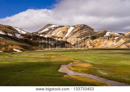 Colorful rhyolit mountains and river near Landmannalaugar Iceland