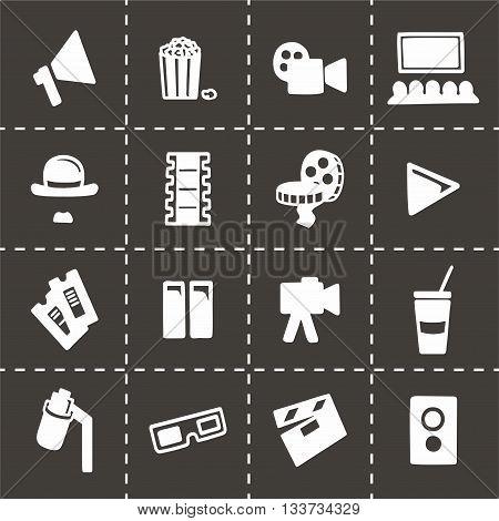 Vector Cinema icon set on black background