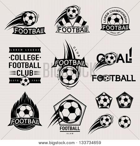 Set of vintage, modern and retro logo badges and labels football game, club, sign Goal, soccer ball. Sport typography text, icons and old emblems. Vector illustration