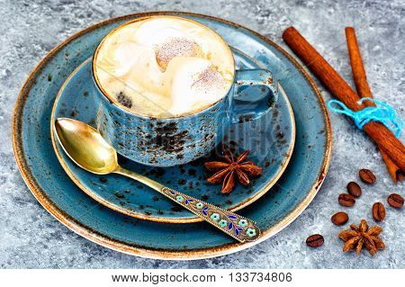 Cup of Coffee with Chocolate on Dark Background in Retro Vintage Style. Studio Photo