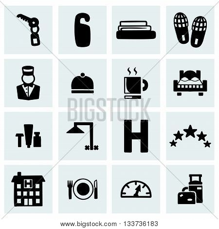 Vector Hotel icon set on grey background