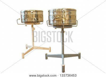 Steam sterilizer with tools isolated on a white background