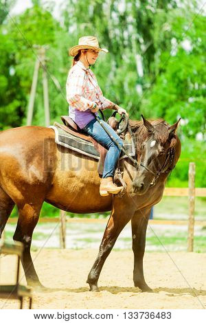 Western Cowgirl Woman Riding Horse. Sport Activity