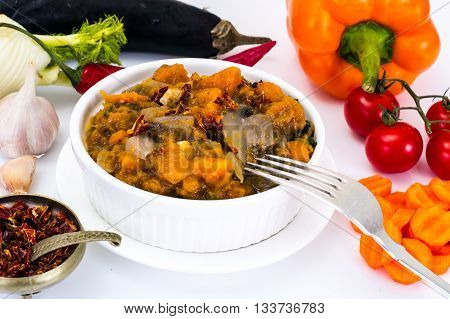 Pumpkin, Mushrooms, Onions and Carrots Stewed Studio Photo