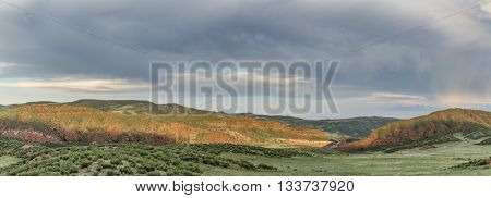 foothills of Rocky Mountains in Colorado - Red Mountain Open Space near Fort Collins - early summer panorama