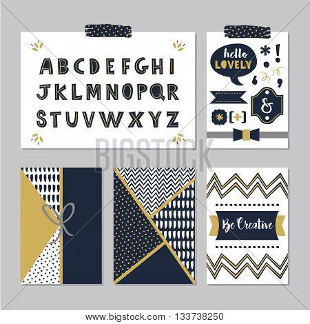 Golden and dark navy blue alphabets and design elements set on trendy gray background
