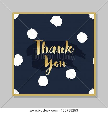 Golden Thank you message card on dark navy blue dotted background