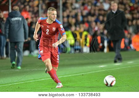 PRAGUE 10/10/2015 _ Pavel Kaderabek. Match of the EURO 2016 qualification group A Czech Republic - Turkey