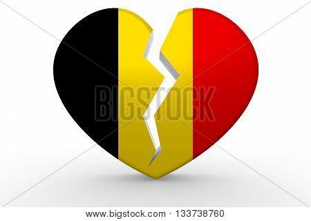 Broken white heart shape with Belgium flag 3D rendering