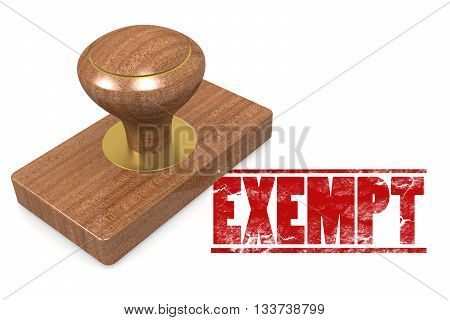 Exempt wooded seal stamp image , 3D rendering