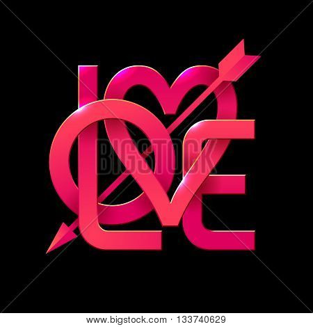 Word Love with arrow on black background. Vector lettering. Eps10. RGB. Global colors