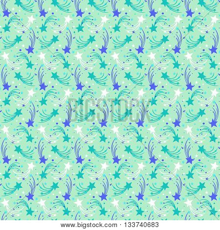 Vector seamless hand drawn pattern with stars, comets and sky in doodle style. Funky background with fireworks and holiday lights. Kids, childish print for textile design or room decor in mint green