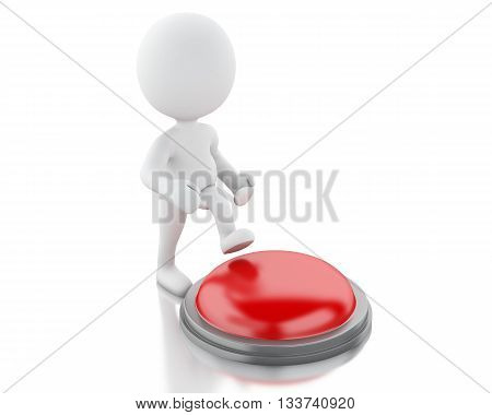 3d renderer image. White people push red button. Isolated white background.