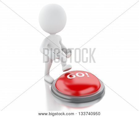 3d renderer image. White people push GO button. Isolated white background.