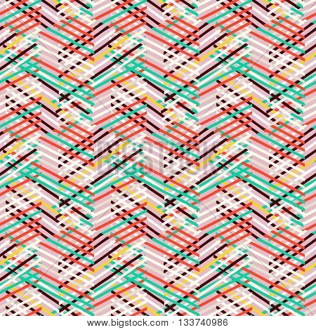 Vector geometric seamless pattern with lines and zigzags in bright mint, red, pink colors. Striped modern bold print in 1980s retro style for summer fall fashion. Abstract techno chevron background