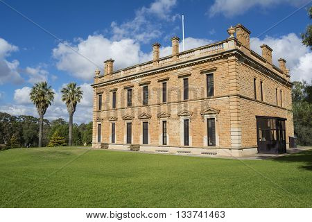 Martindale Hall Mintaro South Australia Australia - June 4 2016: Featuring the side rear view of the historic Martindale Hall Building and grounds.