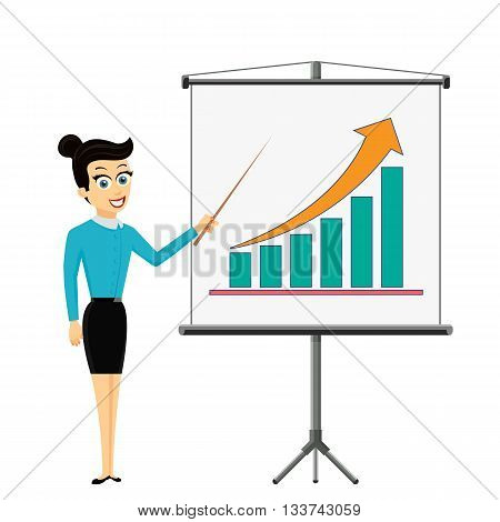 Woman businessman showing on the board financial graph of growth profit. Stock Vector cartoon illustration.