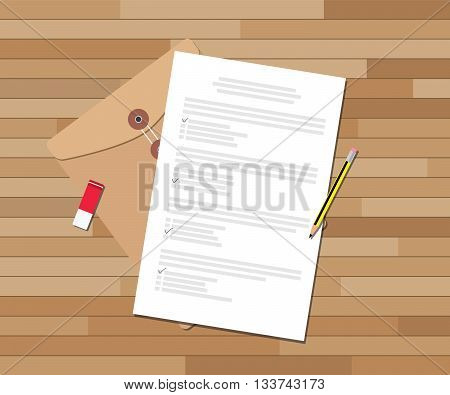 paper test document with checklist and pencil eraser vector graphic illustration