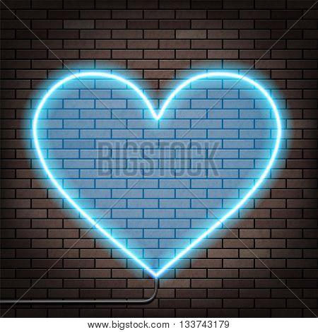 Human heart of glowing neon lights. Brick wall. Stock Vector illustration.