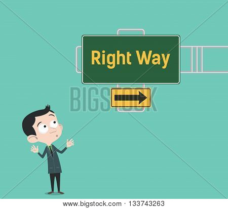 right way arrow guide with sign board with green background and businessman people watch that vector graphic illustration