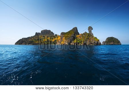 Island in the tropical sea named Chicken, Krabi province of Thailand