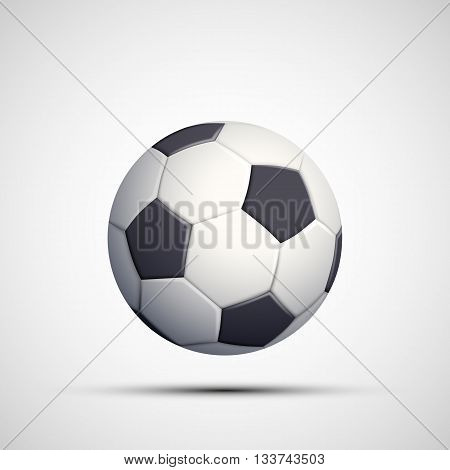 Icon leather soccer ball. Isolated on white background. Stock vector illustration.