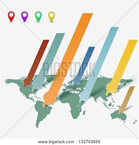 World map and a pointer. Business infographics. Stock vector illustration.
